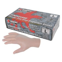 "Memphis Glove - 5015M - 9-1/2"" Powder Free Unlined Vinyl Disposable Gloves, Clear, Size M, 100PK"