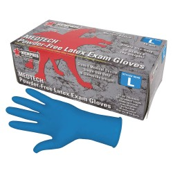 "Memphis Glove - 5048M - 11"" Powder Free Unlined Latex Disposable Gloves, Blue, Size M, 50PK"