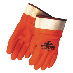 Memphis Glove - 6710FS - PVC Chemical Resistant Gloves, Standard Weight Thickness, Foam Lining, Size L, Orange, PK 12