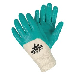 Memphis Glove - 9790L - Memphis Large Predatouch Ultra Light Weight Aqua Green Nitrile Dipped Palm And 3/4 Back Coated Work Gloves With Interlock Liner And Knit Wrist