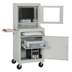 Sandusky Lee - JG662505 - Sandusky Lee Computer Workstation with Shelf - 2 Shelf - 4 Casters - 5 Caster Size - Steel - 26 Width x 24 Depth x 63 Height - Dove Gray