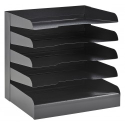 Buddy Products - 0405-4 - Buddy Classic Horizontal Desk Tray - 5 Compartment(s) - 5 Tier(s) - 12 Height x 12 Width x 9.5 Depth - Desktop - Recycled - Black - Steel - 1Each