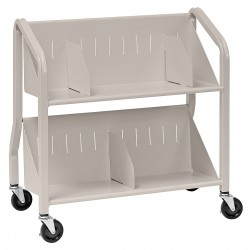 Buddy Products - 5413-3 - Welded Steel Book Cart with 2 Sloped Shelves, Silver