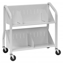 Buddy Products - 5413-32 - Welded Steel Book Cart with 2 Sloped Shelves, Silver