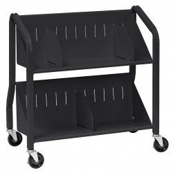 Buddy Products - 5413-4 - Welded Steel Book Cart with 2 Sloped Shelves, Black