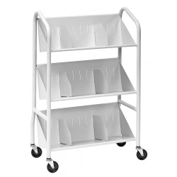 Buddy Products - 5414-32 - Steel Book Cart with 3 Sloped Shelves, Platinum