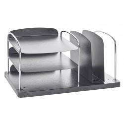 Buddy Products - 7602-42 - Buddy Trio Line Desk Combo Organizer - 6 Pocket(s) - 8.3 Height x 16.3 Width x 11 Depth - Desktop - Charcoal - Steel, Plastic - 1Each