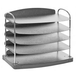 Buddy Products - 7605-42 - Buddy Trio Line 5-tier Horizontal Desk Tray - 5 Pocket(s) - 11.3 Height x 12 Width x 8.5 Depth - Desktop - Charcoal - Steel, Plastic - 1Each