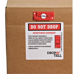 Index Packaging - DRO-525 - G-Force Indicator Label, Plastic, Warning Handle with Care Legend, 2 Height, 27/32 Width