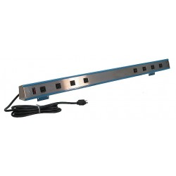 BenchPro - S8-120 - 9 ft. Metal Outlet Strip with 8 Outlets, Gray