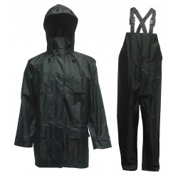 Viking - 2900BK-L - Men's Black 150D Rip-Stop Polyester 3-Piece Rainsuit with Detachable Hood, Size: L, Fits Chest Size:
