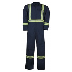 Big Bill - 1325US7 - L - TAL - NAY - UltraSoft, Flame-Resistant Coverall with Reflective Tape, Size: L, Color Family: Blues