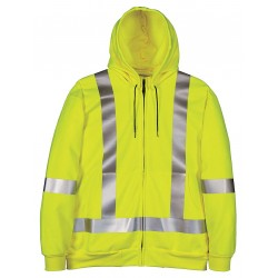 Big Bill - RT27IT14 - S - REG - YEL - Yellow Flame-Resistant Hooded Sweatshirt, Size: S, Fits Chest Size: 34 to 36, 25.1 cal./cm2 ATPV R