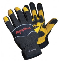 Refrigiwear - 0282RGBKXLG - Cold Protection Gloves, Fleece Lining, Knit Wrist Cuff, Black/Gold, XL, PR 1