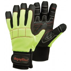 Refrigiwear - 0291RHVLXLG - Cold Protection Gloves, Fleece Lining, Knit Wrist Cuff, Hi-Visibility Lime/Black, XL, PR 1
