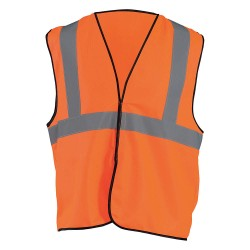 Occunomix - ECO-G-OL/XL - OccuNomix Large - X-Large Hi-Viz Orange Economy Polyester Tricot Class 2 Standard Vest With Hook And Loop Closure, 2 Silver Reflective Tape
