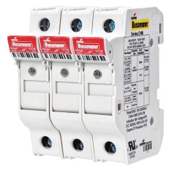 Cooper Bussmann - CHM3DNIU - 3-Pole Midget Fuse Holder, AC: 600VAC, DC: Not Rated, 0 to 30A, Series KTK, FNM, FNQ, BAF, BAN, AGU