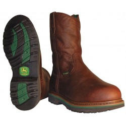 John Deere - JD4373 10W - 11H Men's Wellington Boots, Steel Toe Type, Leather Upper Material, Brown, Size 10W