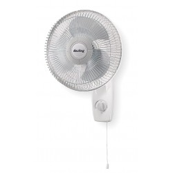 Air King - 9012 - Air King 9012 Wall Mounted Fan - 12 Diameter - 3 Speed - Oscillating, Adjustable Tilt Head - 20.8 Height x 14.3 Width - Steel, Plastic - White