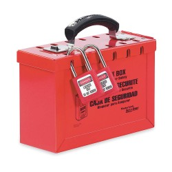 "Master Lock - 470-498A - Red Steel Group Lockout Box, Max. Number of Padlocks: 12, 6"" x 9-1/4"""