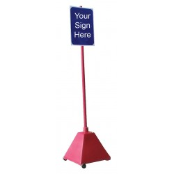 Ideal Shield - BPB-RD-98-RD W/O WHEELS - Sign Base, HDPE, Red