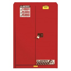 Justrite - 894501 - Justrite 45 Gallon Red Sure-Grip EX 18 Gauge Cold Rolled Steel Safety Cabinet With (2) Manual Close Doors And (2) Shelves (For Flammables), ( Each )
