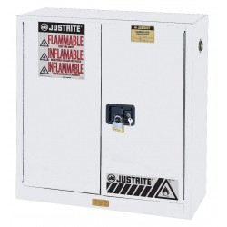"Justrite - 893025 - 43"" x 18"" x 44"" Galvanized Steel Flammable Liquid Safety Cabinet with Self-Closing Doors, White"