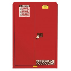 Justrite - 894521 - Justrite 45 Gallon Red Sure-Grip EX 18 Gauge Cold Rolled Steel Safety Cabinet With (2) Self-Closing Doors And (2) Shelves (For Flammables), ( Each )