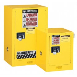 Justrite - 890401 - Justrite 4 Gallon Red Sure-Grip EX 18 Gauge Cold Rolled Steel Countertop Safety Cabinet With (1) Manual Close Door And (1) Shelf (For Flammables), ( Each )