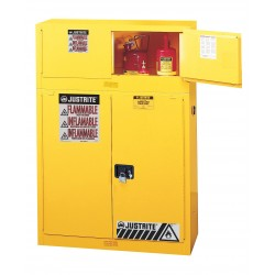 "Justrite - 891325 - 43"" x 18"" x 18"" Galvanized Steel Flammable Liquid Safety Cabinet with Self-Closing Doors, Yellow"