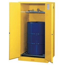 Justrite - 896270 - Justrite 55 Gallon Yellow Sure-Grip EX 18 Gauge Cold Rolled Steel Vertical Drum Safety Cabinet With (2) Self-Closing Doors, (1) Shelf And Drum Rollers (For Flammable Liquids)