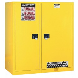 Justrite - 899270 - Justrite 115 Gallon Yellow Sure-Grip EX 18 Gauge Cold Rolled Steel Double Duty Safety Cabinet With (2) Self-Closing Partition Doors, (3) Shelves And Rollers (For Flammables), ( Each )