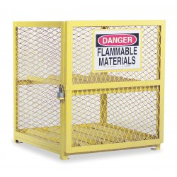 Durham - EGCC4-50 - Yellow Gas Cylinder Cabinet, 30 Overall Width, 30 Overall Depth, 35 Overall Height, 4 Horizontal