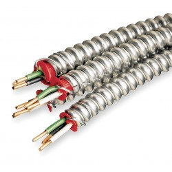 AFC Cable Systems - 2101S42-00 - 250 ft. Solid Armored Cable; Conductors: 2 with Ground, 14 AWG Wire Size, Silver