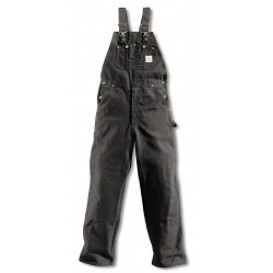Carhartt - R01 BLK 36 28 - Men's Firm Hand Bib Overalls, Lining Material: Unlined, Inseam: 28, Fits Waist Size: 36, Black