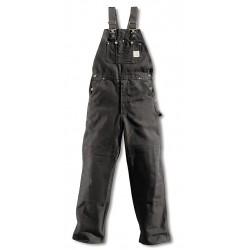Carhartt - R01 BLK 38 32 - Men's Firm Hand Bib Overalls, Lining Material: Unlined, Inseam: 32, Fits Waist Size: 38, Black