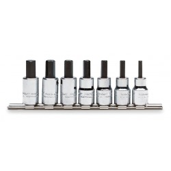 Proto - J4990-SMA - Alloy Steel Socket Bit Set with 3/8 Drive Size and Chrome Finish; Number of Pieces: 7