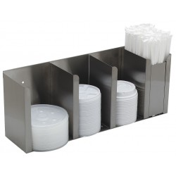 Carlisle FoodService - 388804L - Adjustable Dividers 18/8 Stainless Steel Station Cup and Lid Dispenser, Holds Lids and Straws
