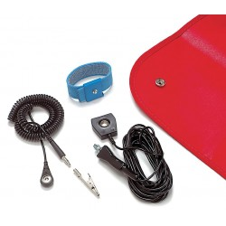 Pomona Electronics - 6087 - ESD Field Service Kit, Static-Safe, Laminated Vinyl Mat, Red, 460mm x 560mm
