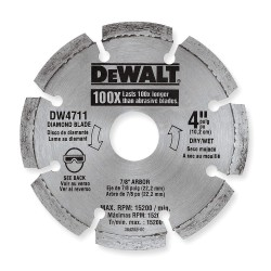 Dewalt - DW4711 - 4 Dry Diamond Saw Blade, Segmented Rim Type