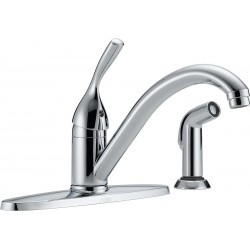 Delta Faucet - 400-DST - Brass Kitchen Faucet with Side Sprayer, Manual Faucet Operation, Number of Handles: 1