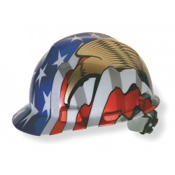 MSA - 10052947 - MSA Freedom Series V-Gard Polyethylene Cap Style Hard Hat With Fas Trac 4 Point Ratchet Suspension, American Flag And 2 Eagles Graphics, ( Each )