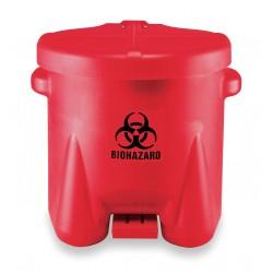 Eagle Mfg - 945BIO - Biohazard Waste Container 10 Gal Step-on Red Biohazard Symbol Label 18 Hx18 Wx22 D Polyethylene Eagle, Ea