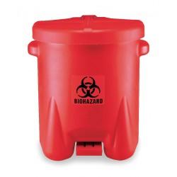 Eagle Mfg - 947BIO - Biohazard Waste Container 14 Gal Step-on Red Biohazard Symbol Label 21 Hx18 Wx22 D Polyethylene Eagle, Ea