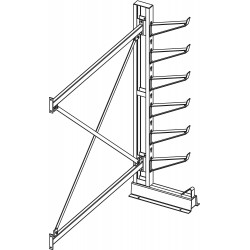 Jarke / C&H - CR-5A - 7 ft. 6 Arm 6, 000 lb. Capacity Steel Inclined Cantilever Rack Add-On Unit, Gray Enamel