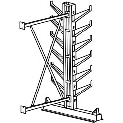 Jarke / C&H - CR-7A - 7 ft. 12 Arm 12, 000 lb. Capacity Steel Inclined Cantilever Rack Add-On Unit, Gray Enamel