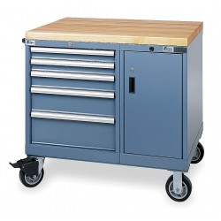 Lista - MPNW600-WWG - 28-1/2 x 39 x 37-1/4 Classic Blue Mobile Service Bench, 165 lb. per drawer Load Capacity