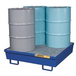 Justrite - 28614 - Drum Spill Cntnmnt, Blue, 4 Drum, 77 Gal.