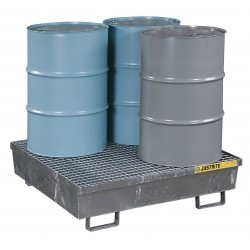 "Justrite - 28615 - Justrite 47.25"" X 47.25"" X 13.08"" Blue Galvanized Steel 4-Drum Square Spill Containment Pallet With 77 Gallon Spill Capacity"