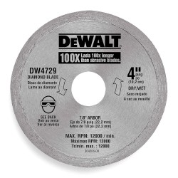"Dewalt - DW4729 - 4"" Wet/Dry Diamond Saw Blade, Continuous Rim Type"